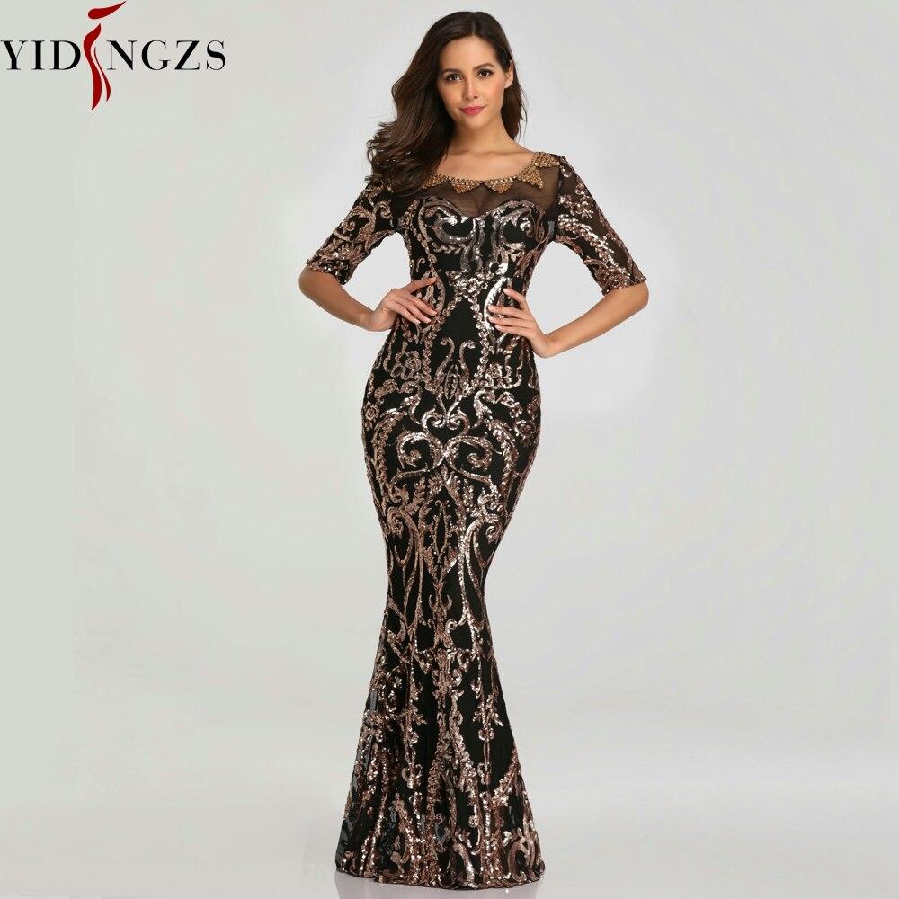 YIDINGZS nouveau 2019 paillettes fête robe formelle demi manches perles Sexy longues robes de soirée