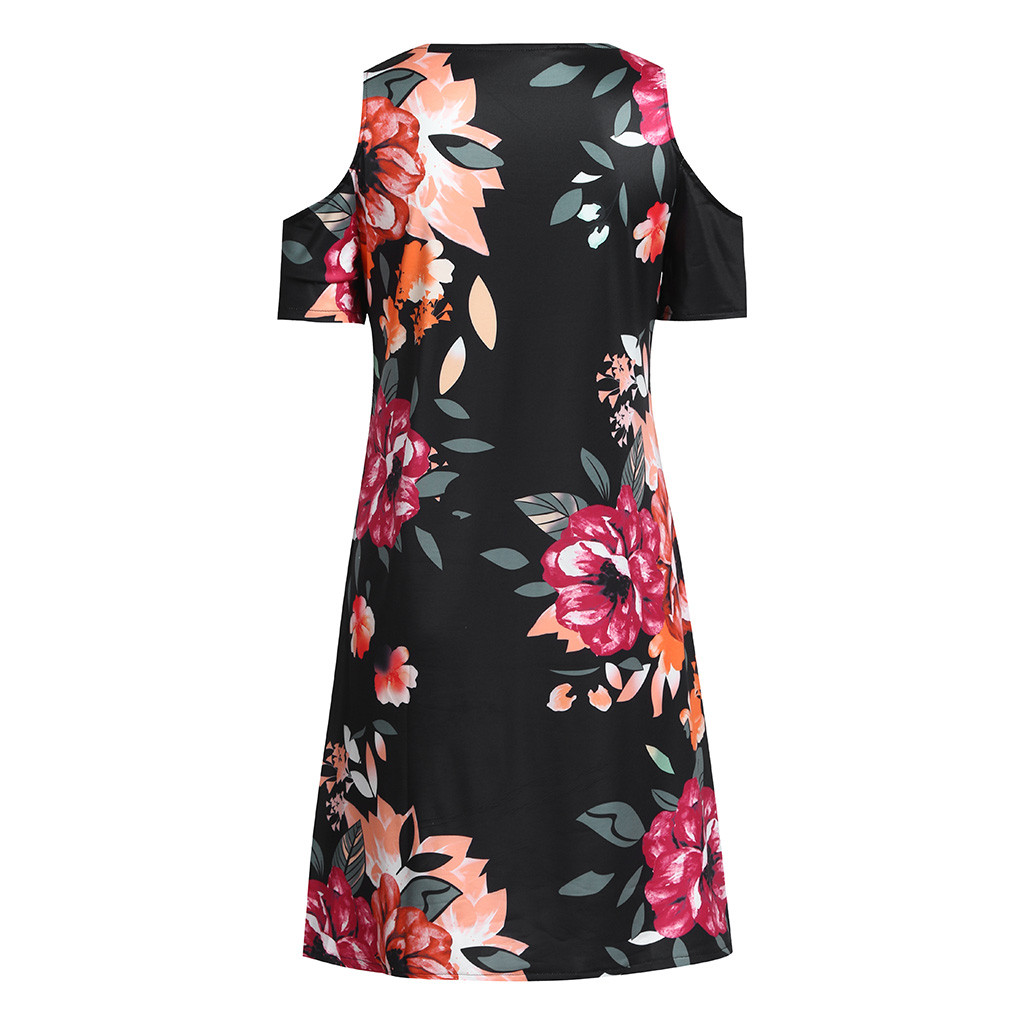 HTB1sP8QaIfrK1Rjy1Xdq6yemFXaM Women's Casual Off Shoulder Dress Short Sleeve Flower Print  Loose Summer Mini Dress Fashion beach dresses vestidos verano 2019