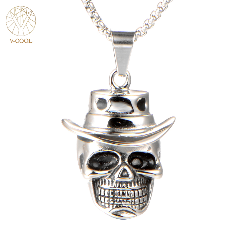 Pirates of The Caribbean Necklace Hot Sale Skull Pendant Jack Sprrow Hat Kito Rock Punky Jewelry Christmasn Gift FreeShip VP343
