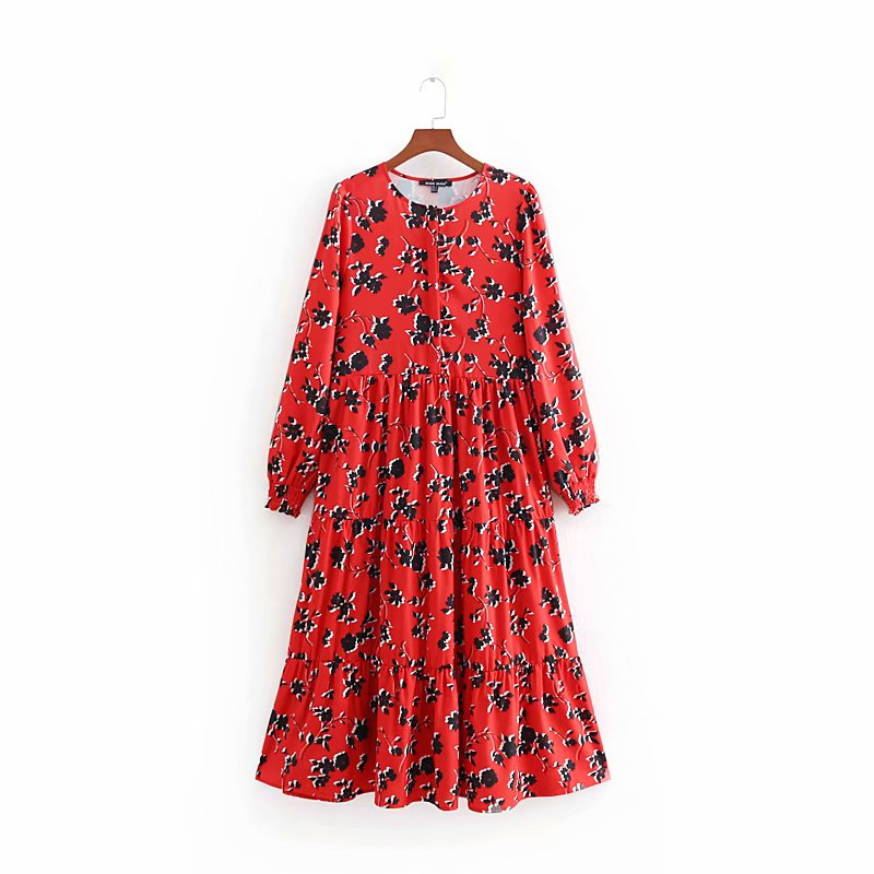 2019 Women Fashion Floral Print Red Long Dress Ladies O Neck Pleated Big Swing Chic Vestidos Retro Brand Party Dresses DS1897