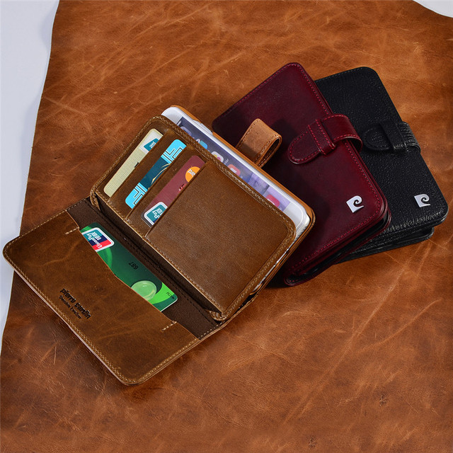 buy popular 10914 4dac1 US $41.39 10% OFF|Pierre Cardin Luxury Real Genuine Leather Case For iPhone  7/7 Plus 6/6s 6/6s Book Wallet Style Phone Bag Flip Style Cover Cases-in ...