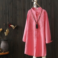 High Quality Pink White Long Shirt Female Ethnic Woman Casual Cotton And Linen Blouse Full Sleeve