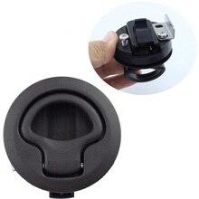 2 Inches Black Round Deck Lock Marine Deck Door Floor Lift Ring Non Locking Lock Handle Flush Pull Slam Latch