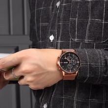 Chronograph Black Watches Men Quartz Watch Stainless Steel Mesh Band Slim Men Gold Watch