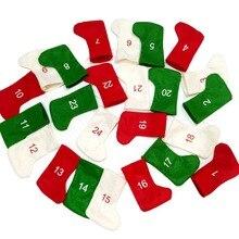 цена 24Pcs Christmas Stocking Mini Sock Santa Claus Candy Gift Bag Xmas Tree Hanging Decor Christmas Home Decorative Festival Gift в интернет-магазинах