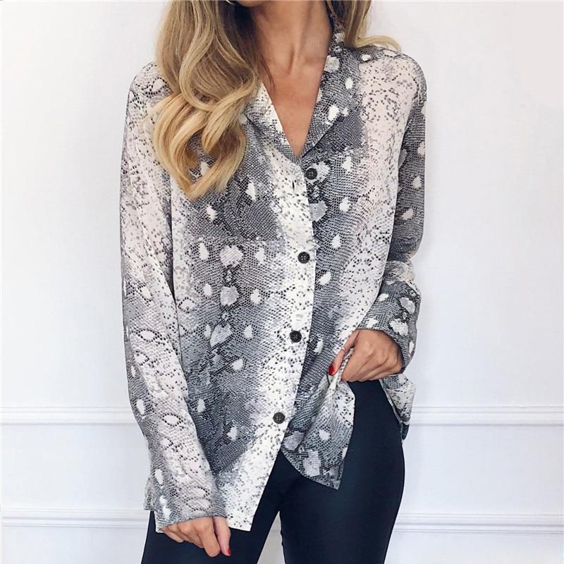 Women Blouses Summer Long Sleeve Chiffon Blouse Snake Skin Pint Tops Turn Down Collar Elegant Office Shirt Tunic Camisa Feminina