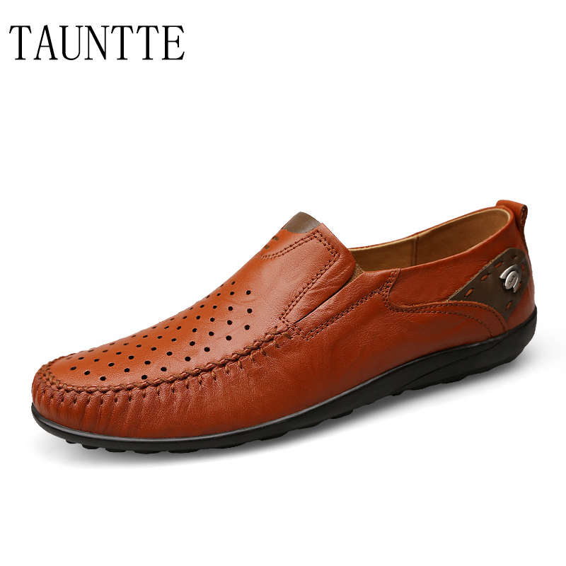 Tauntte Summer New Men Genuine Leather Loafers Breathable Hole Fashion Driving Casual Shoes Plus Size cbjsho brand men shoes 2017 new genuine leather moccasins comfortable men loafers luxury men s flats men casual shoes