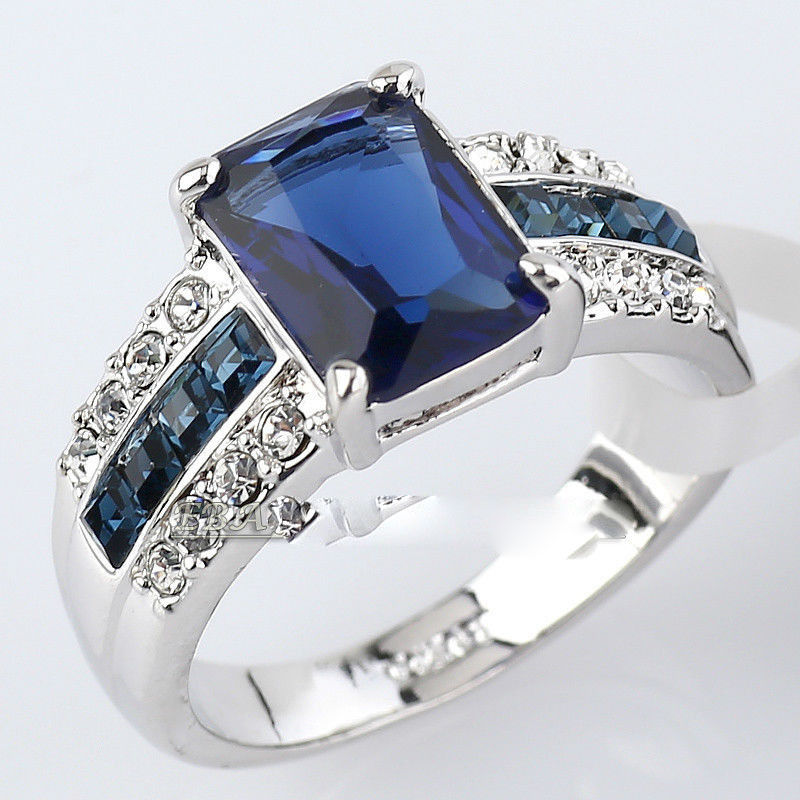 Free shipping shipping> >>>Simulated Sapphire Fashion Ring 18KGP use Crystal Size 7-10 rings