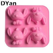 Diy 4 Zelfs Cartoon Stitch Stitch Star Baby Siliconen Cakevorm Chocolade Handgemaakte Zeep Mal A1053
