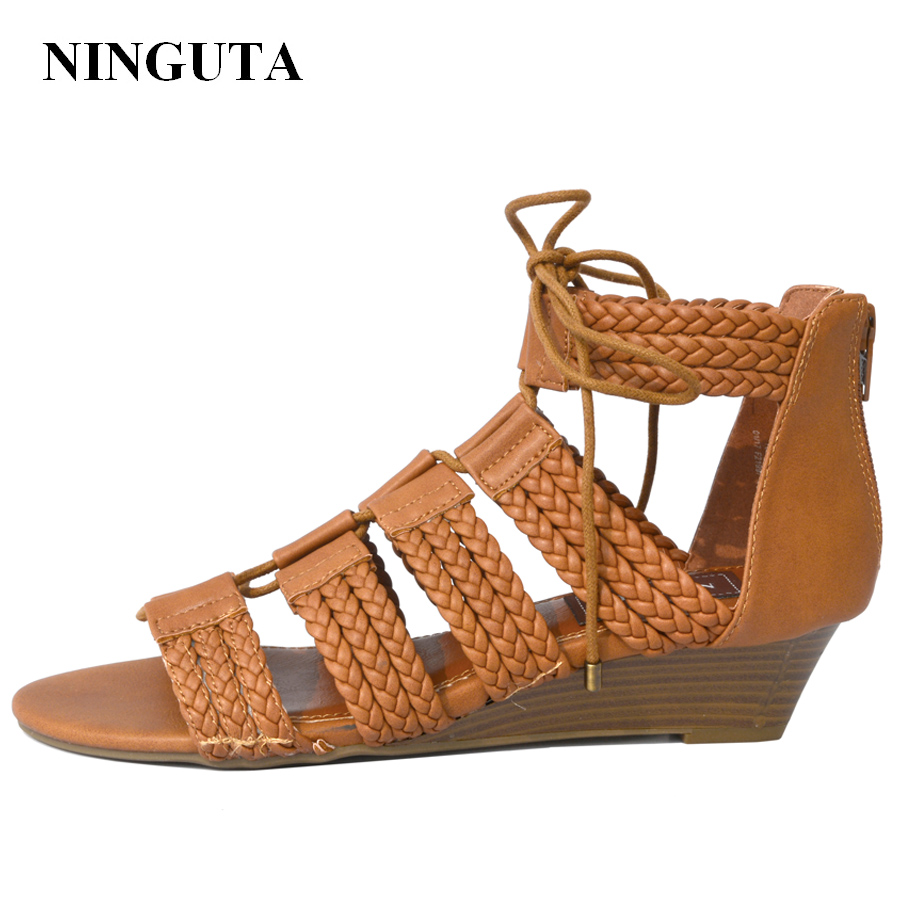 NINGUTA gladiator sandals women wedges shoes for women causal shoe big size 1