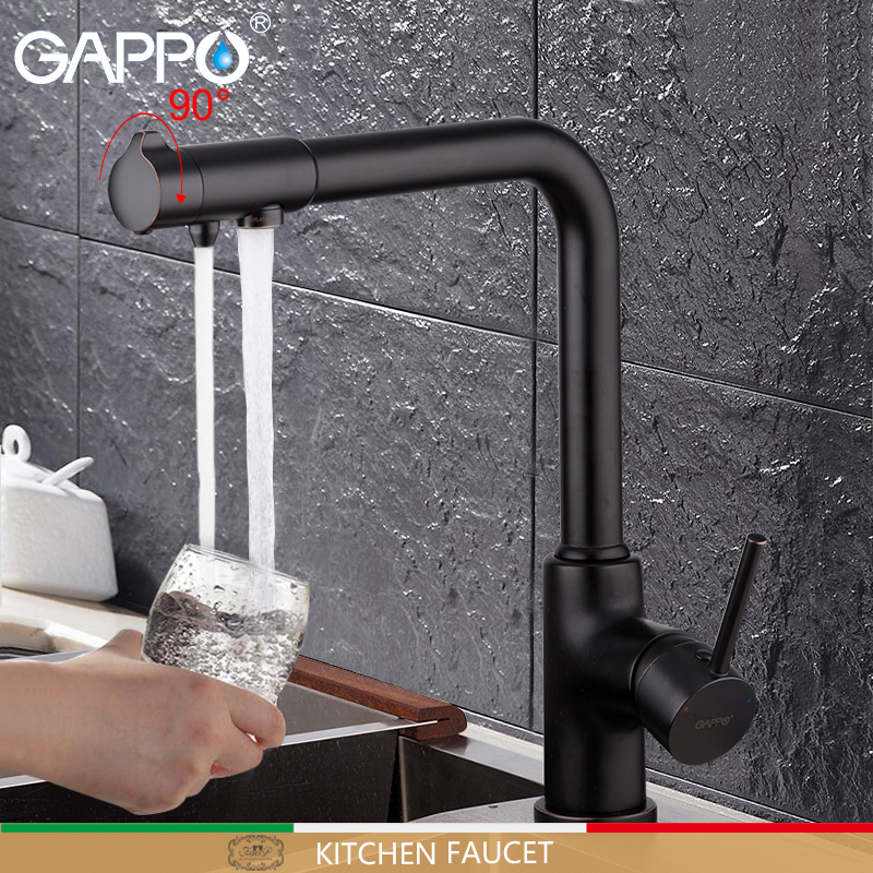 GAPPO Kitchen Faucet Tap Torneira Crane-Mixer Water Black FILTERED