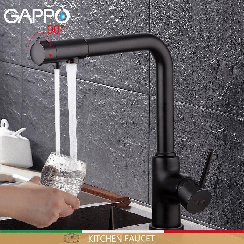 GAPPO torneira da cozinha com água filtrada da torneira filtrada da torneira da cozinha torneira da pia torneira da cozinha torneiras misturadoras torneira guindaste preto