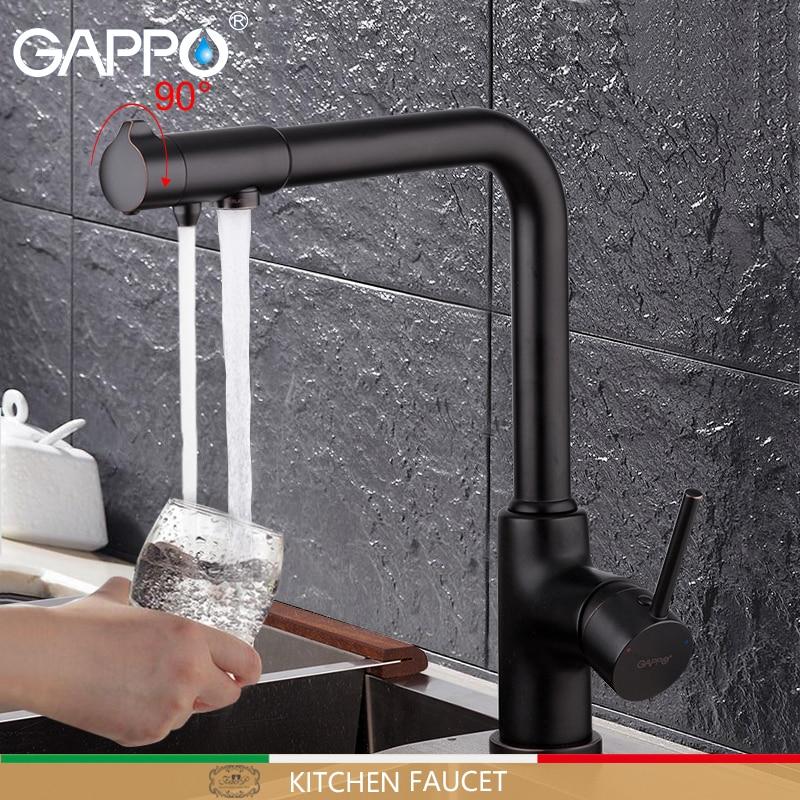 Gappo torneira da cozinha com água filtrada torneira da pia da cozinha filtrada torneira da cozinha guindaste preto torneiras misturadoras