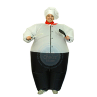Chef Gonflable Costume pour Femmes et Homme Adulte Fancy Dress Costume Party Game Costume Chef Tissu