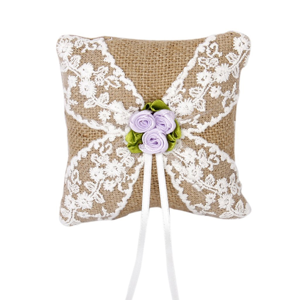 10*10cm Burlap Lace Flower Rustic Style Wedding Ring Bearer Pillow Wedding  Party Vintage Lace