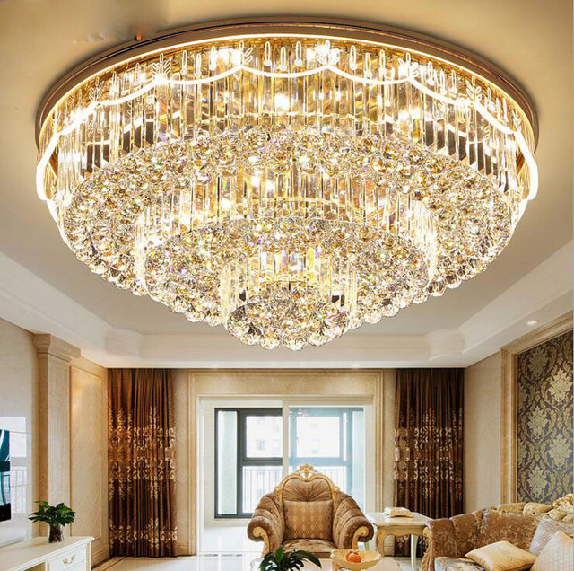 Modern New Living Room Crystal Lamp Led Ceiling Round Simple Creative Side Luminous Hotel Lighting