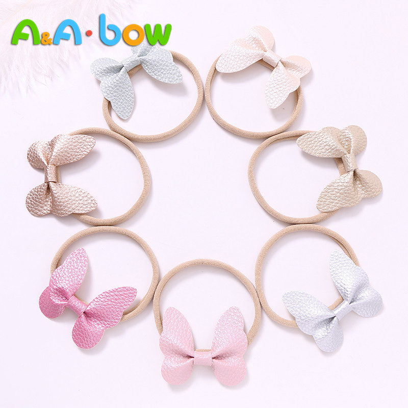 7pcs/lot Cute Babys Headband Synthetic Leathers Spring Bow Butterfly Headbands For Girls Candy Color Soft Nylon Hair Accessories