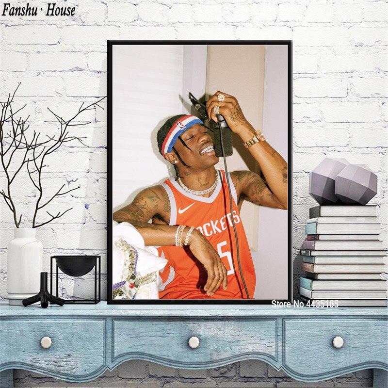 travis scott poster rapper musik star poster und drucke leinwand malerei wand kunst bild fur wohnzimmer hause dekoration neue