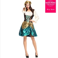 2018 new gorgeous women's pirate costume dress gold green stitching game suit European and American stage costume cosplay L928