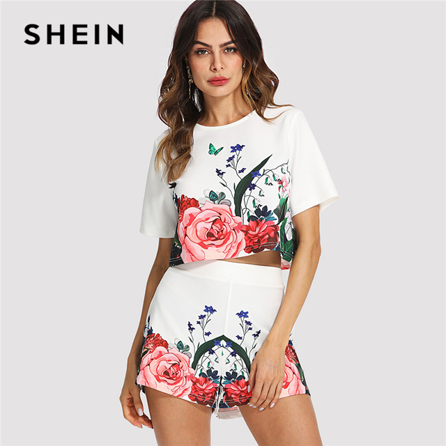 e7b6d84175 SHEIN Multicolor Elegant Floral Round Neck Short Sleeve Button Crop Top And  Shorts Set Summer Women Weekend Casual Twopiece