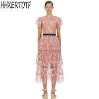 2019 Summer New arrival pink Mesh embroidery Runway Dress women short sleeve dress lace sweet midi dress