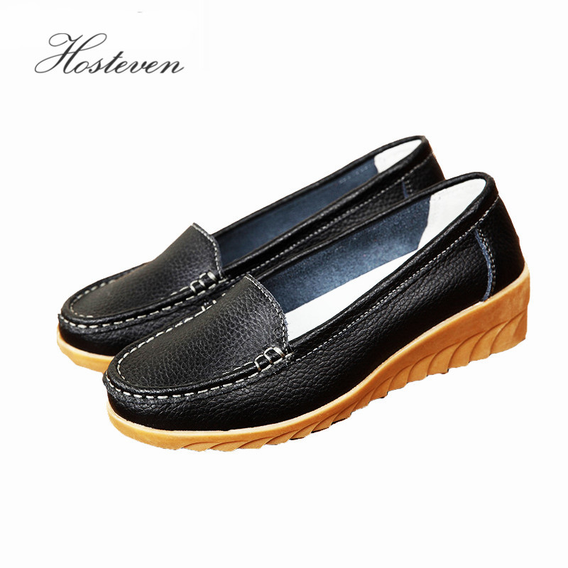 Women's Shoes Non Slip Leather Loafers Comfortable Woman Flats Mocassins Solid Ladies Casual Shoe Pregnant Footwear men cow split leather shoes casual loafers soft and comfortable oxfords non slip flats luxury brand designer shoe zapatos hombre
