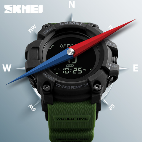 New SKMEI Men Sports Watches S SHOCK Military Compass Pedometer Calories Digital Watch Men Waterproof Electronic Wristwatch Mens Lahore