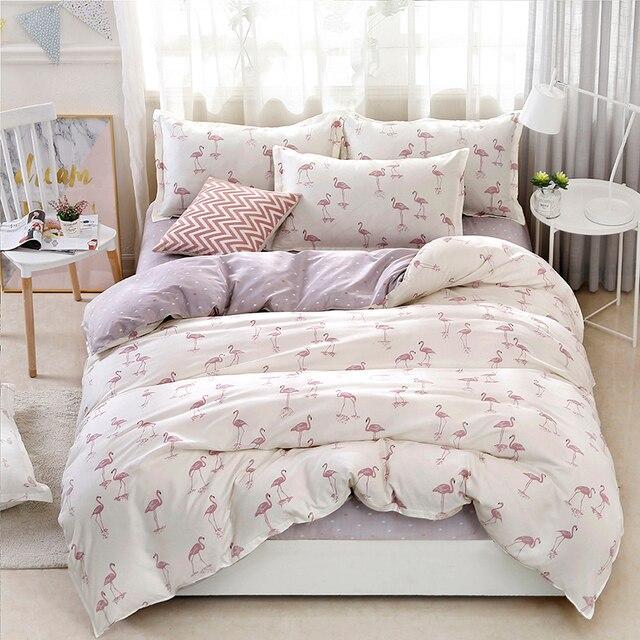 4 cái/bộ Siêu Chất Lượng Chim Mô Hình Bộ Đồ Giường Đặt Giường Lót Duvet Cover Tấm Ga Trải Giường Gối Che Bộ