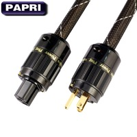 PAPRI M 6AC HiFi AC Power Cable 99.9997% OCC Silver Plated Gold Plated Connector Plugs Amplifies Audio Power Cord DVD CD