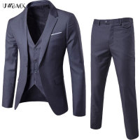 Uwback Men Dress Suits Set Blazer Vest Pants 3 Pieces Slim Casual Jacket Suits Single Breasted