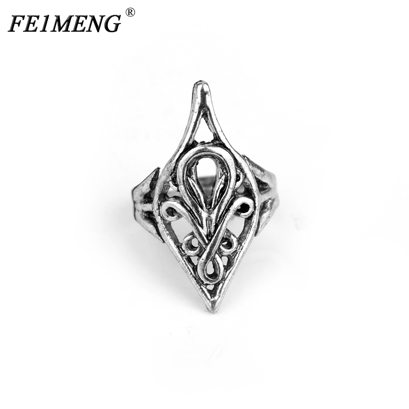 Fashion Genuine Lord Rings Vintage Metal Elrond Ring Classic Antique Silver Hollow Women Men Personality Maxi Cocktail Ring ...