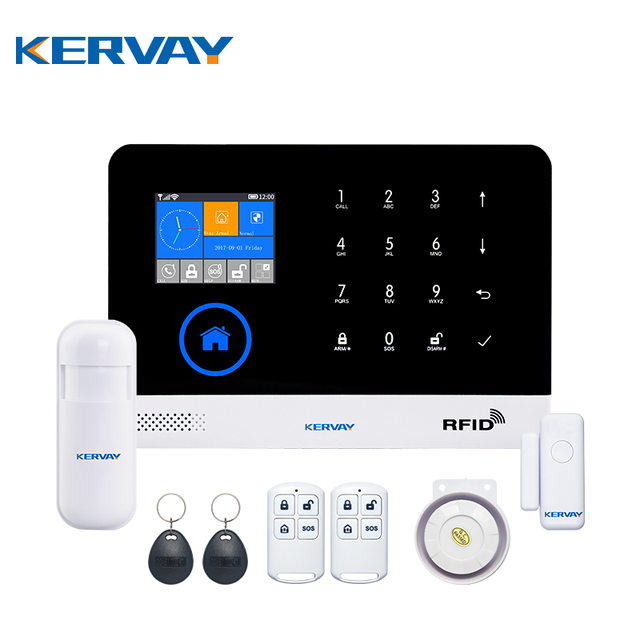 Kervay WIFI RFID GSM Home Security Alarm System With EN RU ES PL DE Switchable Touch Panel LCD Disply APP Remote Control