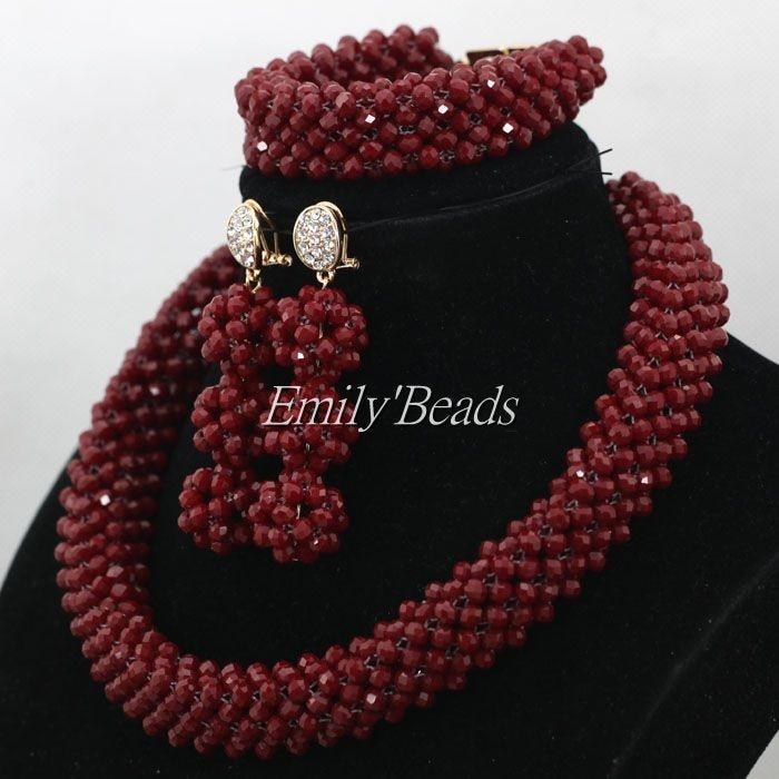 Burgundy Crystal Women Necklaces Set Costume Jewellry Nigerian Wedding African Beads Bridal Jewelry Set Free Shipping AIJ953