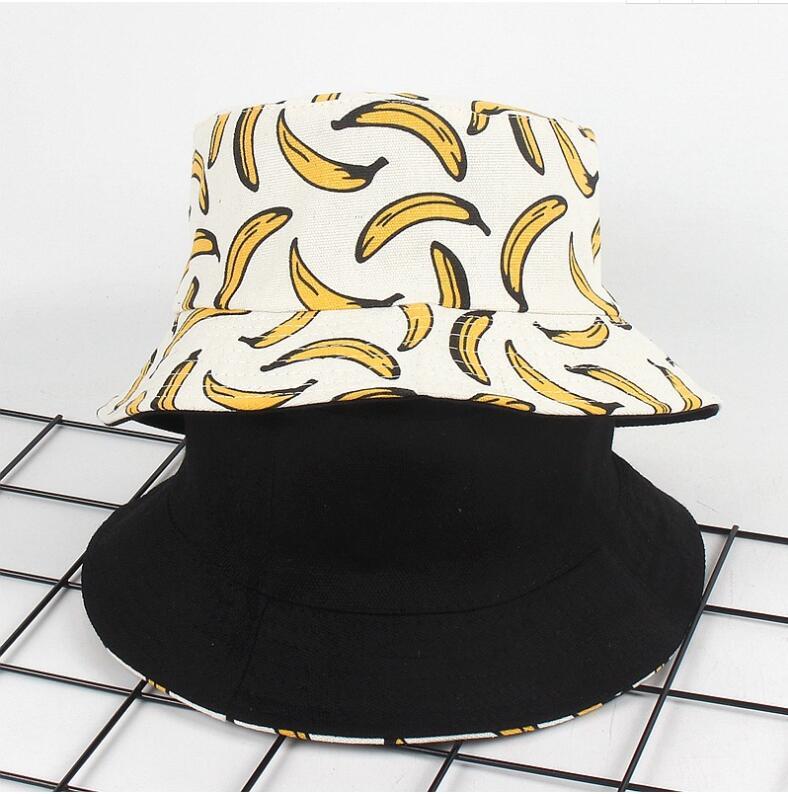 2018 Two Side Reversible Banana Bucket Hat Women Unisex Fashion Bob Caps Hip Hop Gorro Men Summer Caps Beach Sun Fishing Panamas