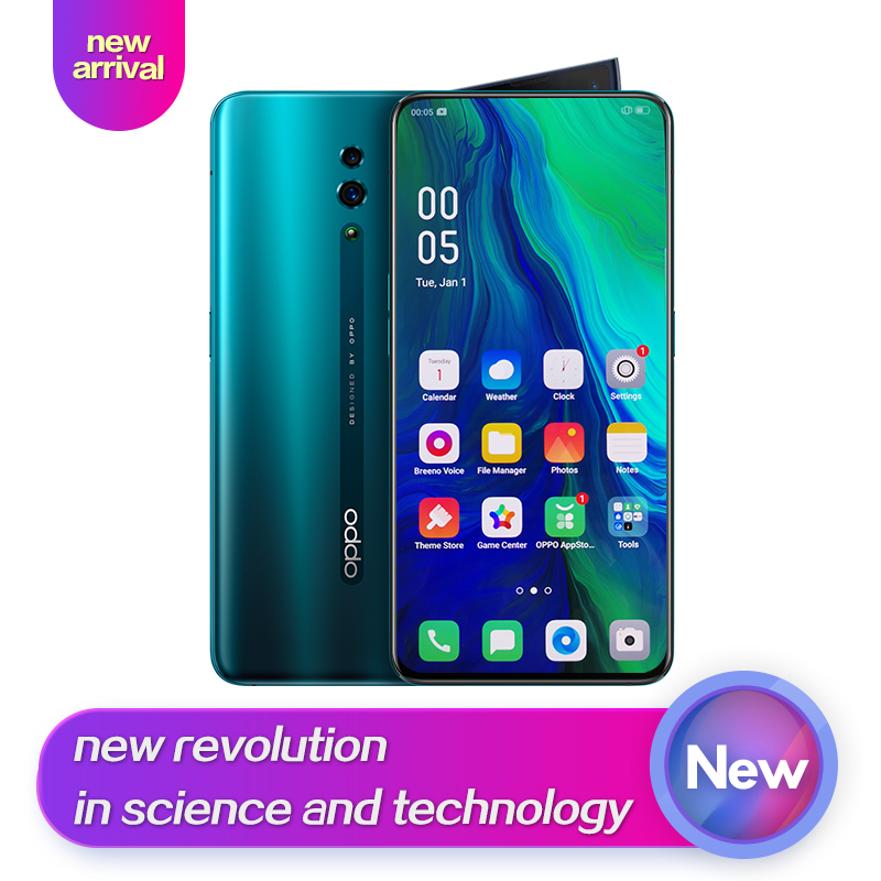 OPPO Reno New Arrival Smart phone 6.4 inch Qualcomm710 Support NFC 2340*1080 Octa Core 3 Cameras 48MP+5MP 3765mAh Fingerprint ID