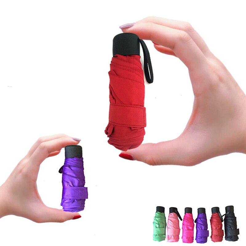 Mini bolsillo paraguas mujer UV paraguas pequeños 180g lluvia mujeres impermeable de los hombres sol sombrilla conveniente chicas de Parapluie chico