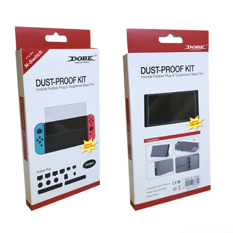 Dustproof Kit +Hardness Tempered Glass Screen Protector For Nintend Switch NS Console