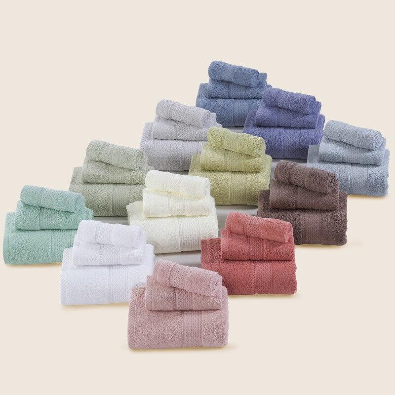 3 Unid 100% algodón sólido color Toalla de baño conjunto de 70x140 cm/32x73 cm/33 x 33 cm