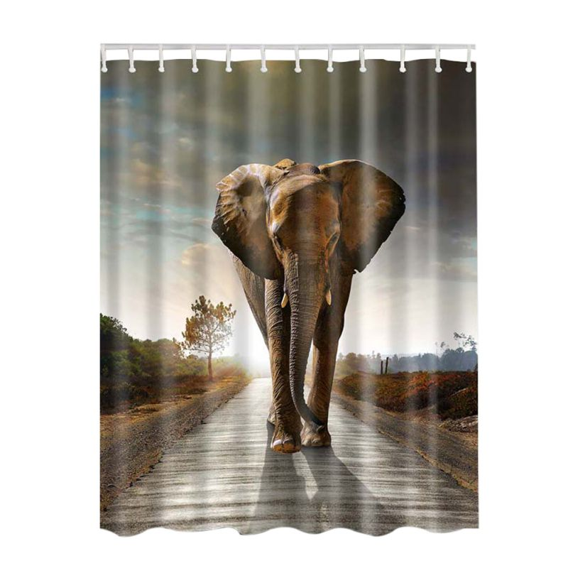 1pcs Animal Decor Collection Starfish Seascape Picture Print Bathroom Set Fabric Shower Curtain with Hooks