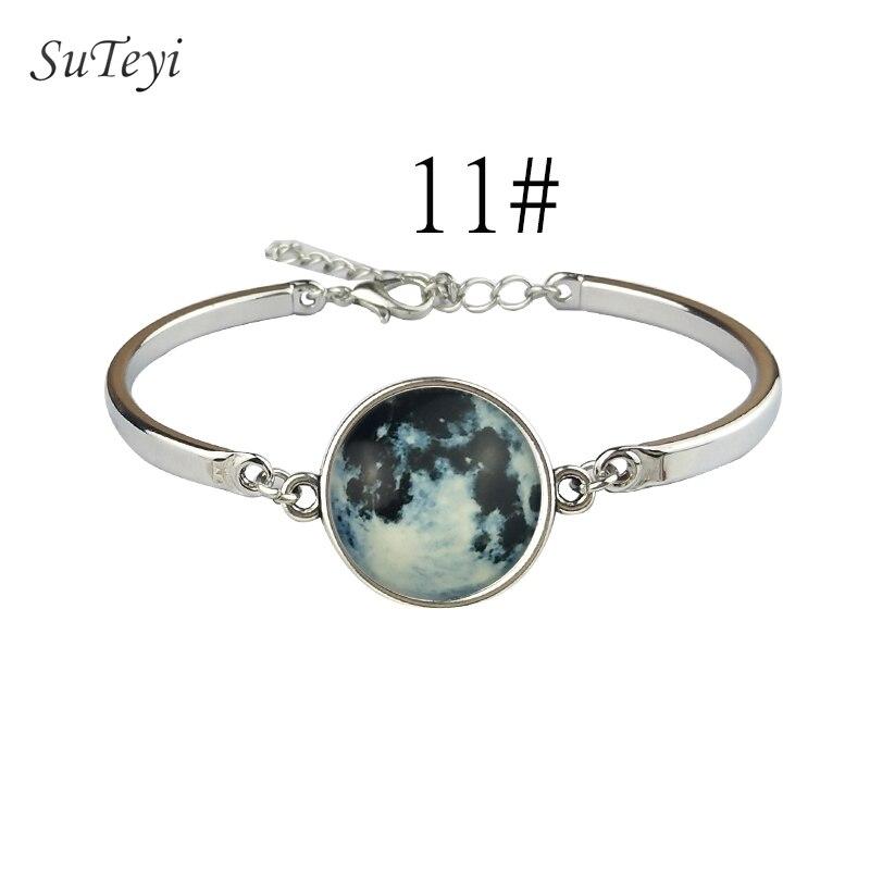 SUTEYI Trendy Planet Glow Bracelet Star Planet Series Crystal Bangles Glow in the Dark Art Pattern Bracelets DIY Jewelry