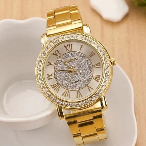 2019 Nueva Marca Famosa Oro Arenácea Rhinestone Casual Reloj de cuarzo Mujeres Relojes de acero completos Relojes de lujo Relogio Feminino