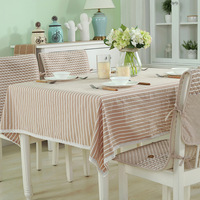 Striped Fringed Decorative Tablecloth Japanese Style Tablecloth Picnic Party 100% Cotton Table Cloth Rectangular Home Textile