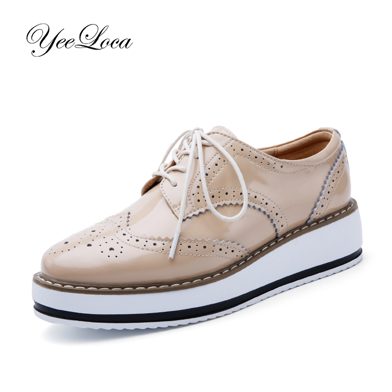 Vintage Brogues Wedge Heel Platform Oxford Shoes Women Thick Sole Patent Leather LaceUp Retro Wingtip Casual Shoes 2018 New beau today brand retro british style 2017 women low heel genuine leather casual brogues wingtip oxford shoes black blue brown