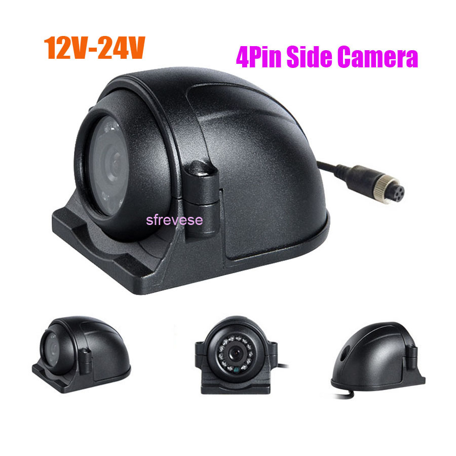 4Pin 12 LED Side Rear View Parking Reversing Backup Camera For Truck Bus Vehicle Monitor 12V-24V