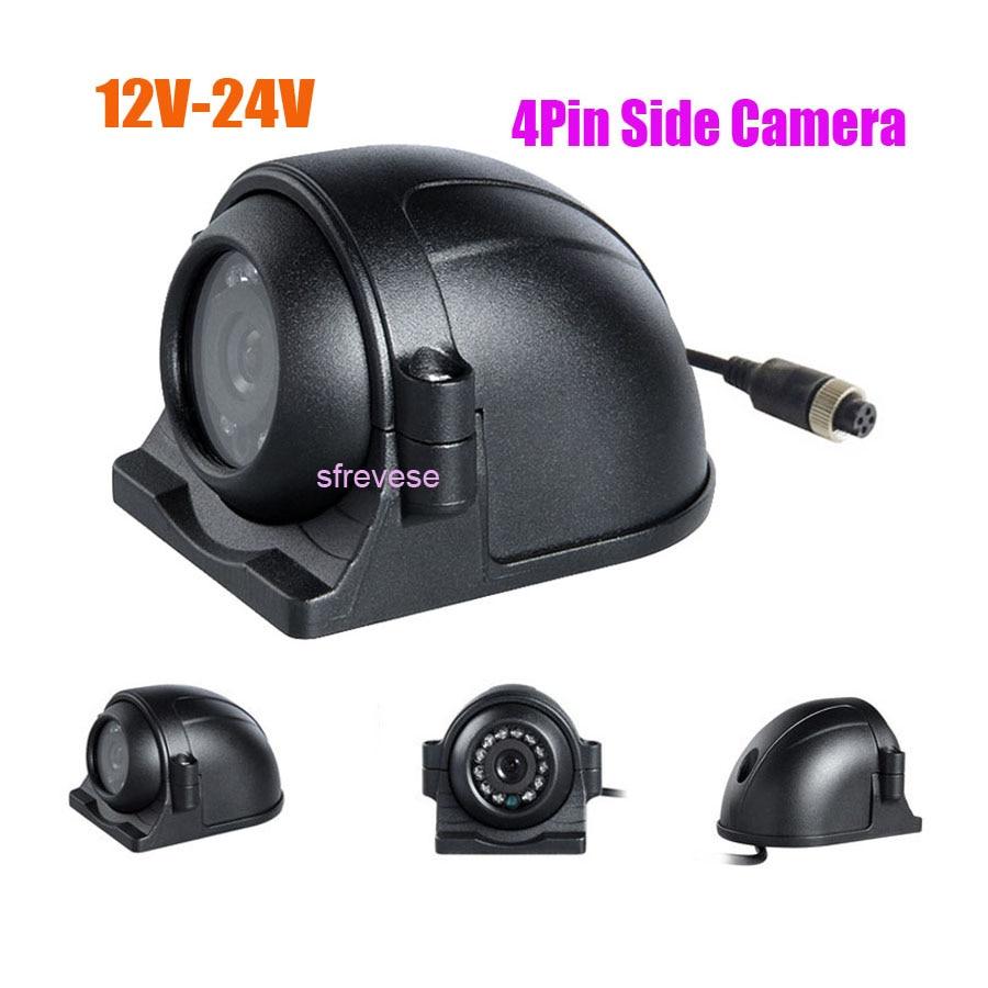 4Pin 12 LED Side Rear View Parking Reversing Backup Camera For Truck Bus Vehicle Monitor 12V-24V