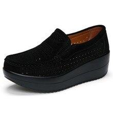 2018 primavera mujer plataforma plana mocasines zapatos señoras gamuza  cuero hueco Casual zapatos Slip On Flats 033958f5256