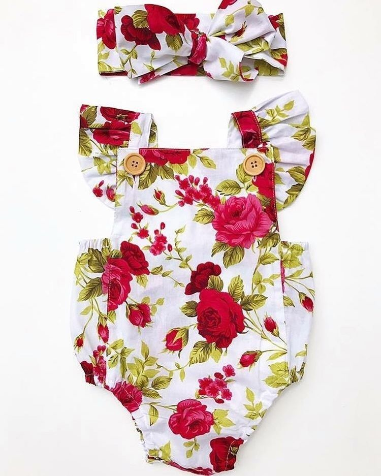 New Fashion Newborn Baby Girl Clothes Flower Button Jumpsuit  Bodysuit  + Headband Outfits Clothes