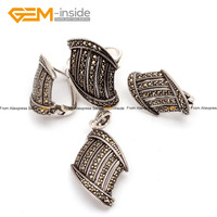 Marcasite Stairs Shape Antiqued Silver Ring Earrings Pendant Jewelry Set Fashion Jewellery Free Shipping Wholesale Gem