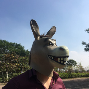 Image 5 - Shrek The Third Funny Donkey Mask Animal Latex Full Face Adult Cosplay Costume Mr Silly Donkey Masks Prop Halloween Party Men