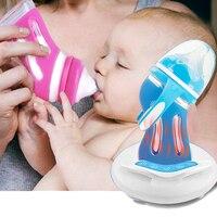 赤ちゃんガラスボトル落下防止シリコーンワイド口径新生児哺乳瓶断熱インテリジェント温度制御ボトル